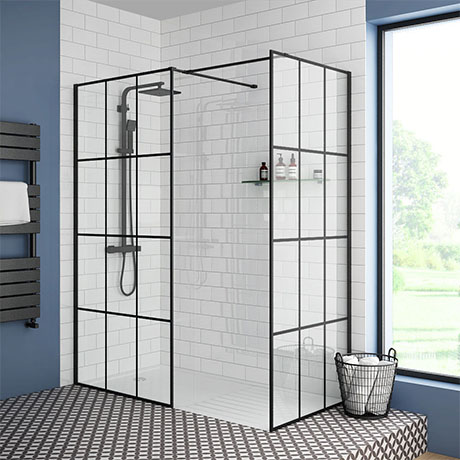 Arezzo 1400 x 900 Matt Black Grid Wet Room (Inc. Screen, Side Panel + Tray)