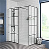 Arezzo 1400 x 900 Matt Black Grid Wet Room (Inc. Screen, Side Panel + Tray) profile small image view 1