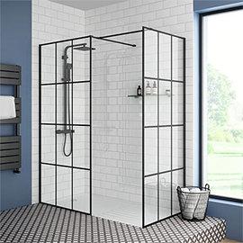 Arezzo 1600 x 800 Matt Black Grid Wet Room (Inc. Screen, Side Panel + Tray)