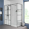 Arezzo 1700 x 800 Matt Black Grid Wet Room (Inc. Screen, Side Panel + Tray) profile small image view 1