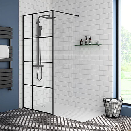 Arezzo 1700 x 800 Matt Black Grid Wet Room (Inc. Screen + Tray)