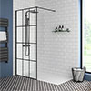Arezzo 1700 x 800 Matt Black Grid Wet Room (Inc. Screen + Tray) profile small image view 1