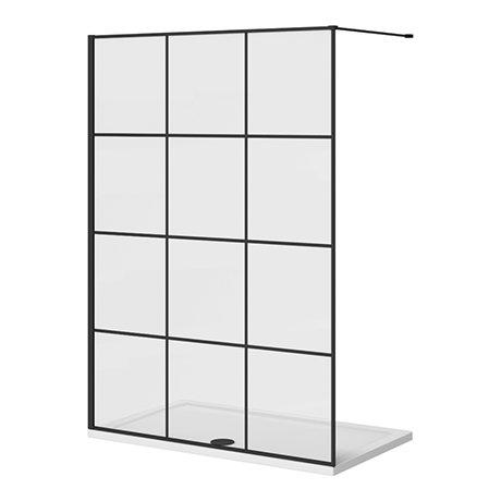 Arezzo 1400 x 800 Matt Black Grid Wet Room (inc. 1400 Screen + Tray)