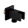 Arezzo Square Wall Elbow & Shower Handset Holder - Matt Black profile small image view 1