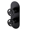 Arezzo Matt Black Industrial Style Round Modern Twin Concealed Shower Valve with Diverter profile small image view 1