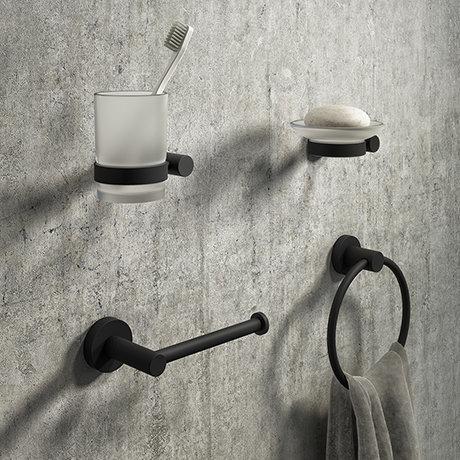 Arezzo Industrial Style Matt Black 4-Piece Bathroom Accessory Pack