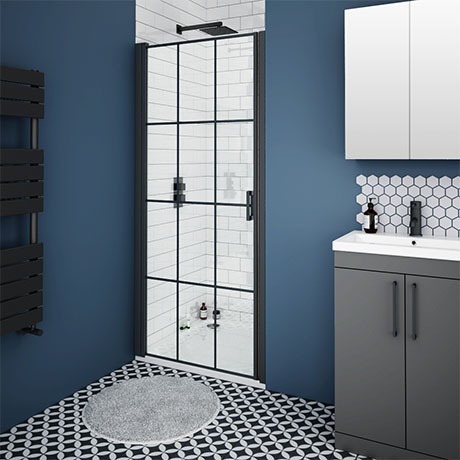 Arezzo 1050mm Matt Black Grid Frameless Pivot Shower Door + Stone Resin Tray for Recess