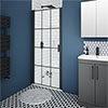 Arezzo 850mm Matt Black Grid Frameless Pivot Shower Door + Tray for Recess profile small image view 1