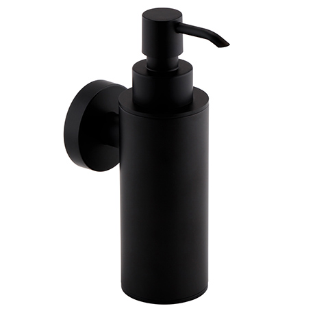 Arezzo Matt Black Round Wall Mounted Soap Dispenser