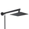 Arezzo Square 200mm Matt Black Slim Rainfall Shower Head with 1.75m Flexible Hose profile small image view 1