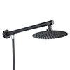 Arezzo Round 200mm Matt Black Slim Rainfall Shower Head with 1.75m Flexible Hose profile small image view 1