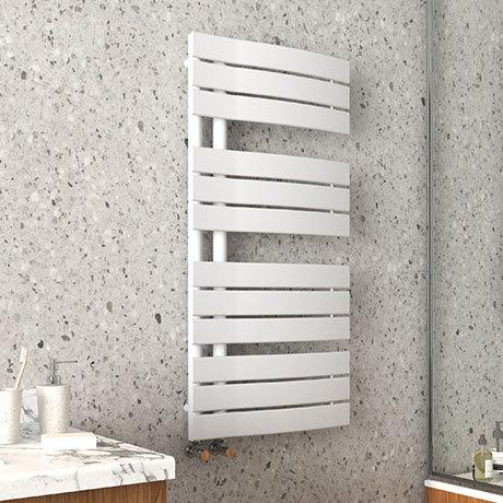 Arezzo Matt White Designer Heated Towel Rail 1080 x 550mm