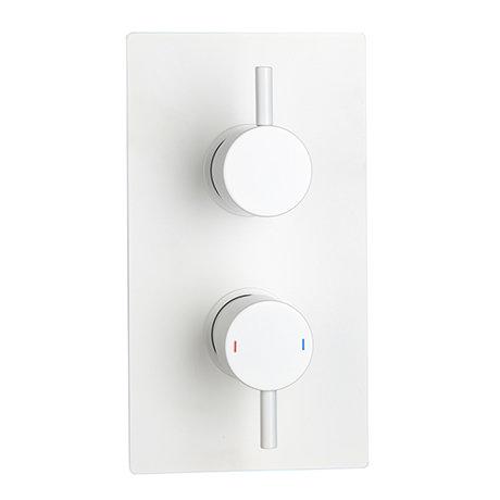 Arezzo Matt White Round Modern Twin Concealed Shower Valve