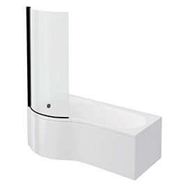 Arezzo P-Shaped Shower Bath (1700mm with Screen + Front Panel)