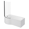 Arezzo P-Shaped Shower Bath (1700mm with Screen + Front Panel) profile small image view 1