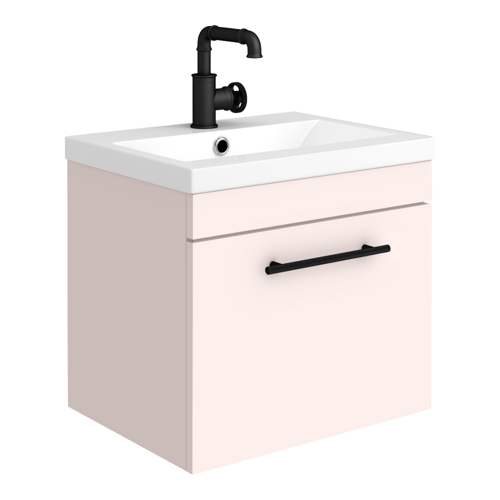 Arezzo Wall Hung Vanity Unit - Matt Pink - 500mm with Industrial Style Black Handle