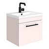 Arezzo Wall Hung Vanity Unit - Matt Pink - 500mm with Industrial Style Black Handle profile small image view 1