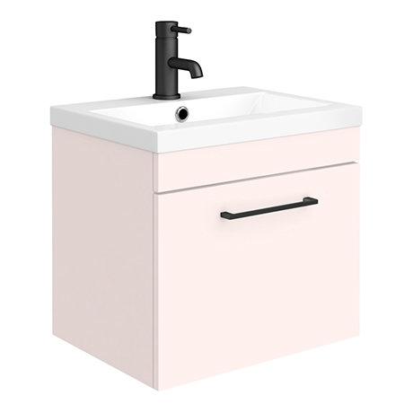 Arezzo 500 Matt Pink Wall Hung 1-Drawer Vanity Unit with Matt Black Handle
