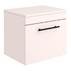 Arezzo Wall Hung Countertop Vanity Unit - Matt Pink - 500mm with Industrial Style Black Handle profile small image view 1