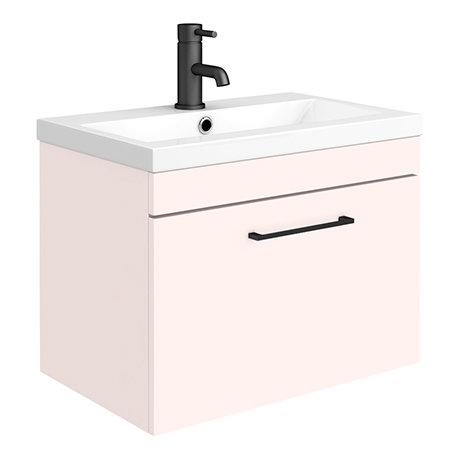 Arezzo 600 Matt Pink Wall Hung 1-Drawer Vanity Unit with Matt Black Handle