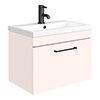 Arezzo Wall Hung Vanity Unit - Matt Pink - 600mm with Matt Black Handle profile small image view 1
