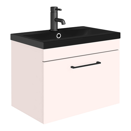 Arezzo Wall Hung Vanity Unit - Matt Pink - 600mm Black Basin