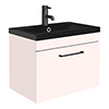 Arezzo Wall Hung Vanity Unit - Matt Pink - 600mm Black Basin profile small image view 1