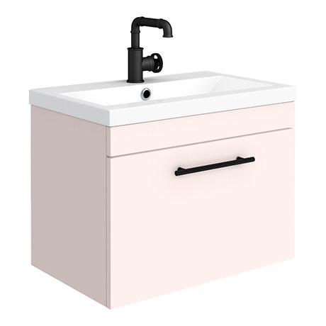 Arezzo Industrial Style 600 Matt Pink Wall Hung 1-Drawer Vanity Unit with Matt Black Handle