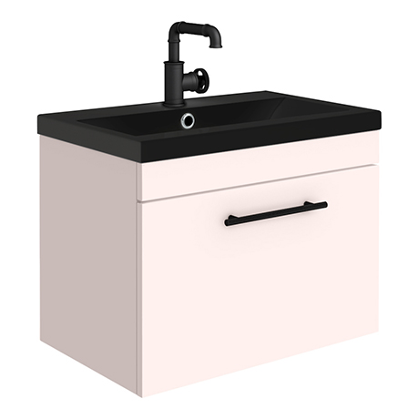 Arezzo Wall Hung Vanity Unit - Matt Pink - 600mm Black Basin with Industrial Style Handle