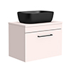 Arezzo Wall Hung Countertop Basin Unit - Pink with Matt Black Handle - 600mm inc. Black Basin profile small image view 1