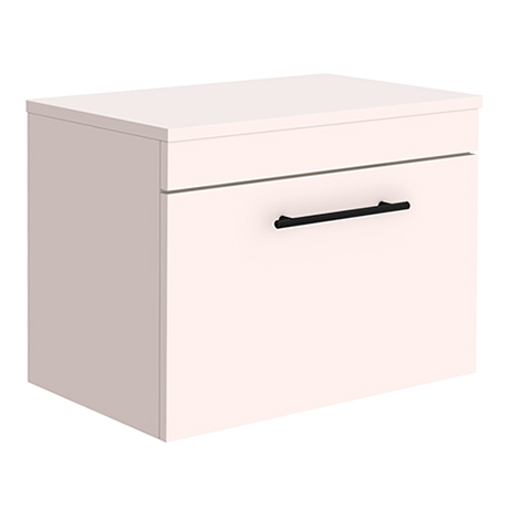 Arezzo Wall Hung Countertop Vanity Unit - Matt Pink - 600mm with Industrial Style Black Handle