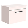 Arezzo Wall Hung Countertop Vanity Unit - Matt Pink - 600mm with Industrial Style Black Handle profile small image view 1