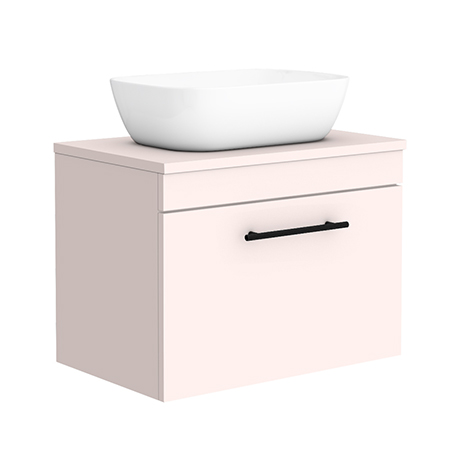 Arezzo Wall Hung Countertop Basin Unit - Pink with Industrial Style Black Handle - 600mm inc. White