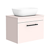 Arezzo Wall Hung Countertop Basin Unit - Pink with Industrial Style Black Handle - 600mm inc. White Basin profile small image view 1