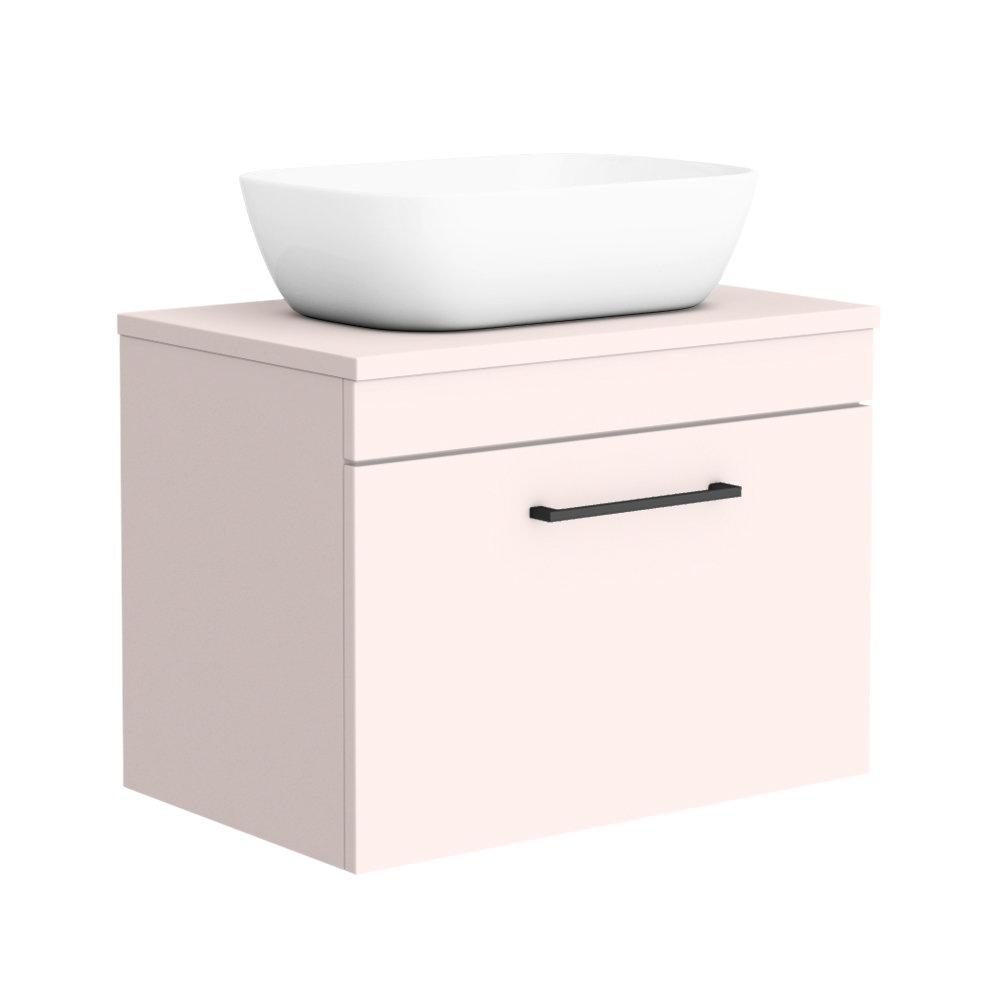 Arezzo Wall Hung Countertop Basin Unit - Pink with Matt Black Handle - 600mm inc. White Basin