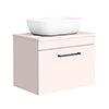 Arezzo Wall Hung Countertop Basin Unit - Pink with Matt Black Handle - 600mm inc. White Basin profile small image view 1
