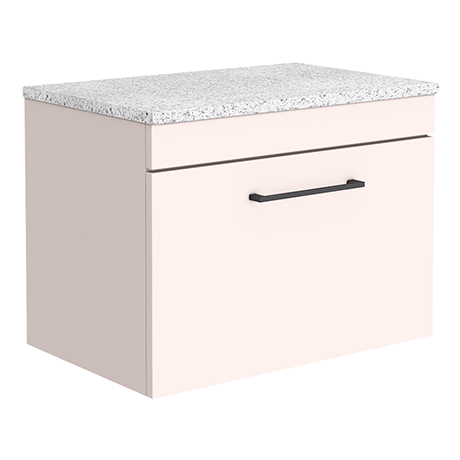 Arezzo Wall Hung Countertop Vanity Unit - Matt Pink - 600mm with White Worktop & Matt Black Handle