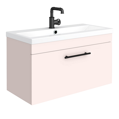 Arezzo Wall Hung Vanity Unit - Matt Pink - 800mm with Industrial Style Black Handle