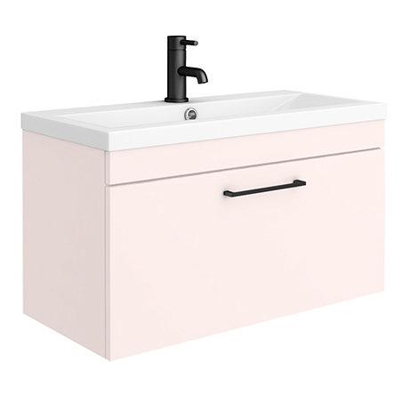 Arezzo 800 Matt Pink Wall Hung 1-Drawer Vanity Unit with Matt Black Handle