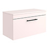 Arezzo Wall Hung Countertop Vanity Unit - Matt Pink - 800mm with Industrial Style Black Handle profile small image view 1