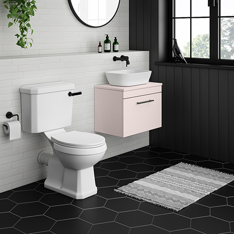 Arezzo Wall Hung Countertop Basin Unit with Toilet - Pink with Industrial Style Black Handle