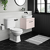 Arezzo Wall Hung Countertop Basin Unit with Toilet - Pink with Industrial Style Black Handle profile small image view 1