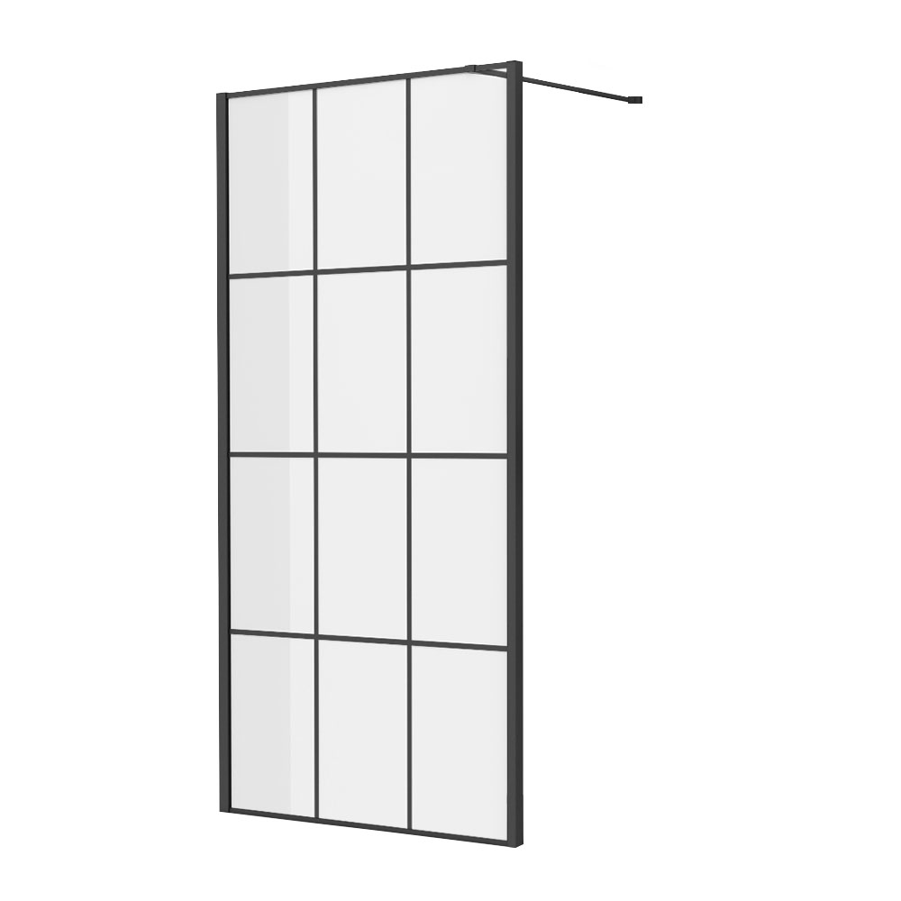 Side Panel for Arezzo Matt Black Grid Pivot Shower Door