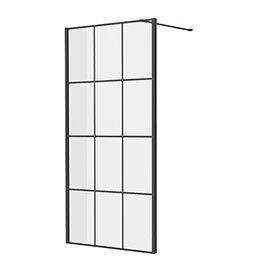 Side Panel for Arezzo Matt Black Grid Pivot Shower Door
