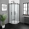 Arezzo Matt Black 800 x 800mm Frameless Quadrant Shower Enclosure profile small image view 1