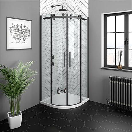 Arezzo Matt Black 800 x 800mm Frameless Quadrant Shower Enclosure