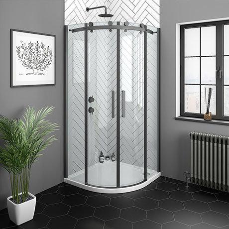 Arezzo Matt Black 900 x 900mm Frameless Quadrant Shower Enclosure