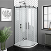 Arezzo Matt Black 900 x 900mm Frameless Quadrant Shower Enclosure profile small image view 1
