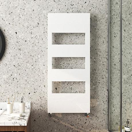 Arezzo White 1200 x 500 Designer Panel Radiator with Towel Rails