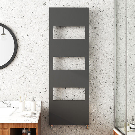 Arezzo Anthracite 1500 x 500 Designer Panel Radiator with Towel Rails